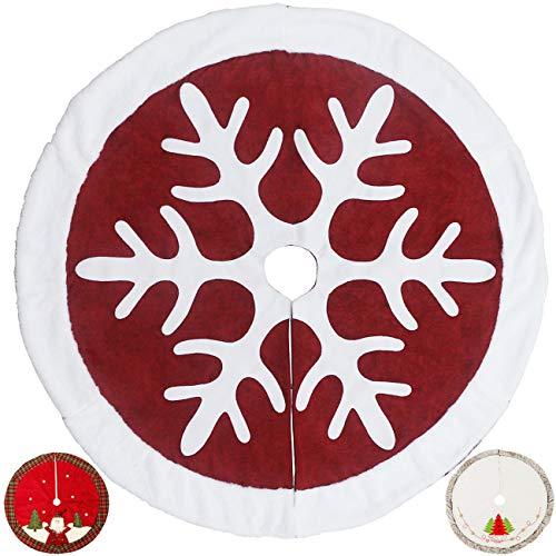 Sunnyglade 121,9 cm Weihnachtsbaum-Rock, doppellagiges Design, Schneeflocken-Muster, Sackleinen, Weihnachtsbaum-Rock mit weißen Samtkanten, für Weihnachten, Urlaub Dekorationen (rot)