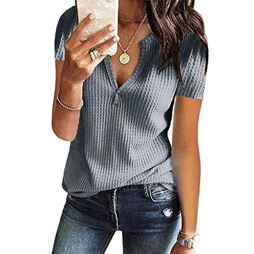 Weant Damen Kurzarm T-Shirt Knit V-Neck Einfarbig Oberteile Basic Tops Kurzarm Shirts Oberteil Sexy Elegant Sommer Bluse Tops Tunika T-Shirt Baumwollshirt