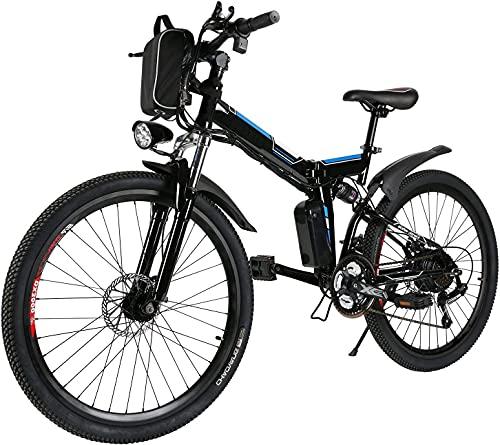 bici elettrica pieghevole da,26 pollici bicielettrica, mobile batteria al litio 36V / 8Ah E-bike,Sistema di cambio a 21 velocità (Wanderer nero)