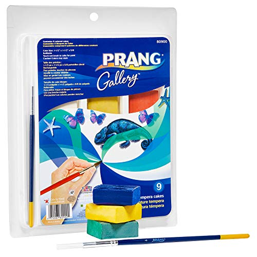 Prang Gallery Classic Tempera Paint Cakes, 9 Color Set with Divided Pan and Brush (80900), 1-1/2 x 1-1/2 x 5/8 in,Multi