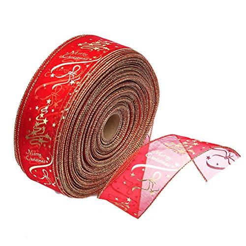 BESTOYARD Cinta del árbol de Navidad Cinta de Seda de Navidad Decoración Envoltura de Regalos Cintas 200x6.3cm