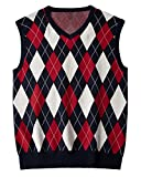 Karlywindow Mens Argyle Sweater Vests Rhombus Sleeveless V-Neck Knit Pullover Vest Red