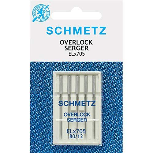 Schmetz Aguja de máquina de coser ELX705 (5 piezas) Tamaño: 80/12 ...