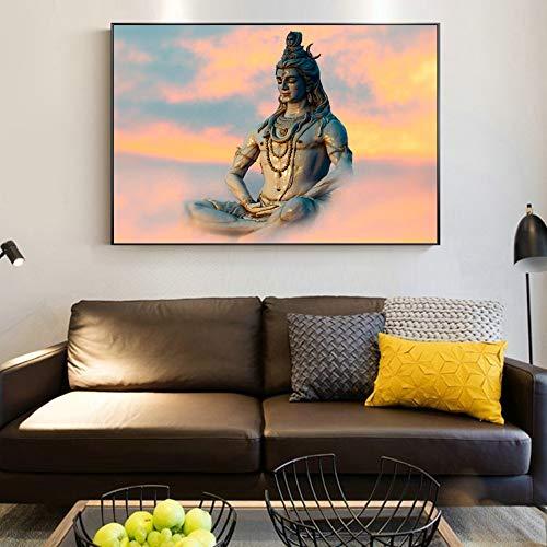 sanzangtang Indische Wandkunst Shiva Hindu God Poster und Drucke Religion Wandkunst Wohnzimmer Dekoration dekorative rahmenlose Malerei 60cmX90cm