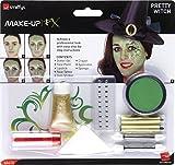 Smiffy'S 44410 Kit De Maquillaje Bruja Guapa Con Aqua, Tatuaje, Adhesivos De Joya Y Lápiz De Labios, Verde