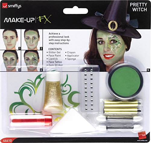 Smiffy's Mooie heks make-up kit gezicht paintstattooGeme sticker lippenstift glitter gel crayon en applicators Eén maat groen