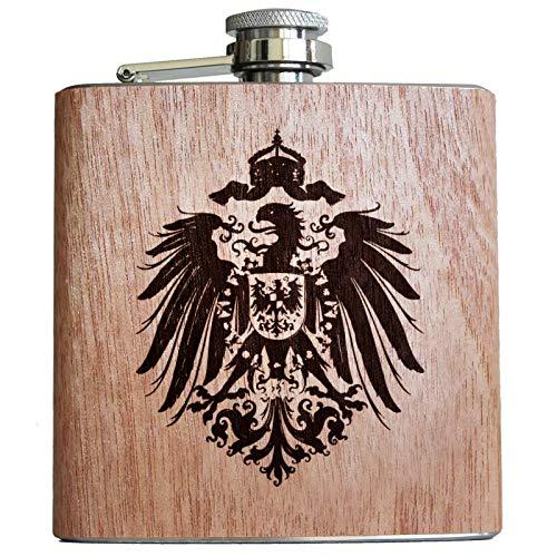 Pixelstudio Deutsches Reich Holz Flachmann mit Gravur Reichsadler Kaiserreich Deutschland Kaiser Wappen Adler