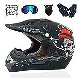 Casco de Descenso para jóvenes Adultos Regalos Gafas máscara Guantes Bolsillo Neto BMX MTB ATV Bicicleta Carrera Integral Integral Casco,B,XL