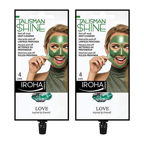 Iroha Nature - Mascarilla Facial Peel Off Verde, Talisman Shine, Limpieza Profunda con Aloe Vera y Centella Asiatica, Pack 2 unidades | Mascarilla Peel-Off Limpieza Profunda