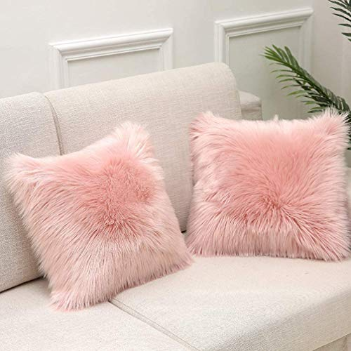 Pink Fluffy Soft Artificial Fur Cushion Covers Set of 2, 18 x 18 Inch 45x 45cm With hidden zipper For Bedroom Sofa Car Decoration Pillowcase