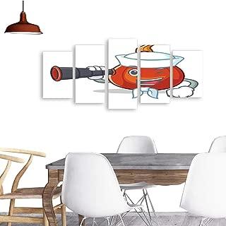 UHOO 5 Piece Wall Art Painting PrintSailor with Binocular red kuri Squash Mascot Cartoon. odern Decoration Living Room