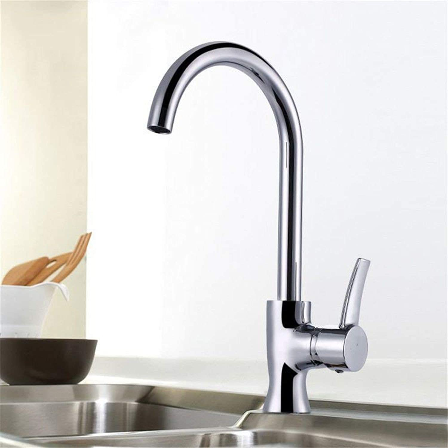 Oudan Kitchen Sink Mixer tap Solid Brass hot and Cold Round Sink Faucet (color   -, Size   -)