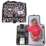Luxury All in One Portable / Travel Diaper Changing Pad / Mat, Black & Grey