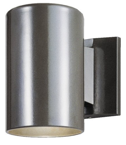 One-Light Outdoor Wall Fixture, Polished Graphite Finish on Steel Cylinder (2 Pack)