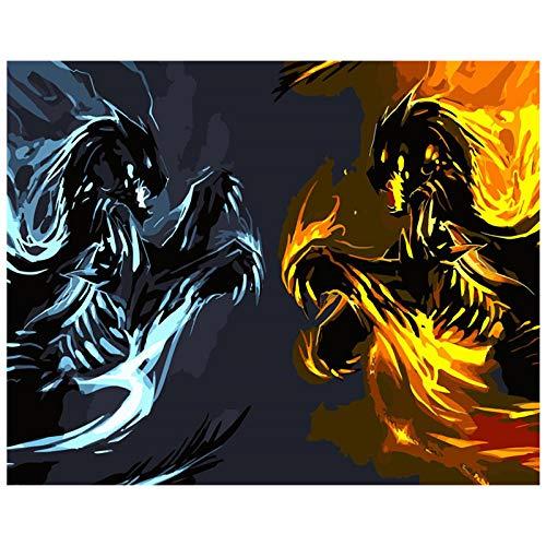 IJs en vuur. Digitaal schilderij knutselen kunst muur woonkamer decoratie landschap figuur dier bloem cartoon 40 x 50 cm framloos