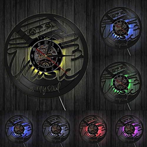 XYVXJ Reloj de Pared con Disco de Vinilo Music Is My Soul, Ventilador Hecho a Mano, decoración artística, Reloj Decorativo único, Reloj de Pared con Tiempo, decoración Moderna para el hogar
