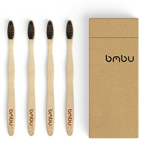 Bamboo Toothbrush 4 Pack - Medium / Soft Charcoal Bristles Tooth Brushes Wooden Handle - BPA Free, Eco Friendly, Vegan Product Gift Idea, Sustainably Grown in Recycled Biodegradable Packaging