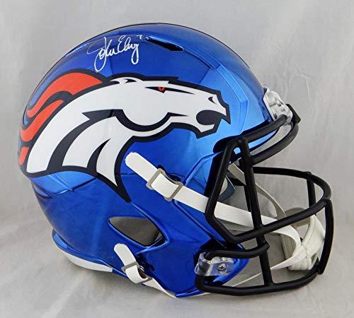 John Elway Autographed Denver Broncos Full Size Chrome Helmet - Beckett Auth White