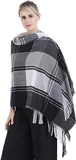 Niaiwei Women's Pashmina Cashmere Plaid Soft Warm Tassel Scarf Shawl Cape