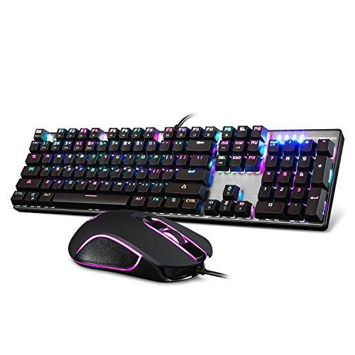 Motospeed- CK888 USB Teclado Mecanico, Raton Gaming, Kit Teclado y Raton, Teclado RGB Eje de Verde, Teclado Retroiluminacion Multicolor con Cable