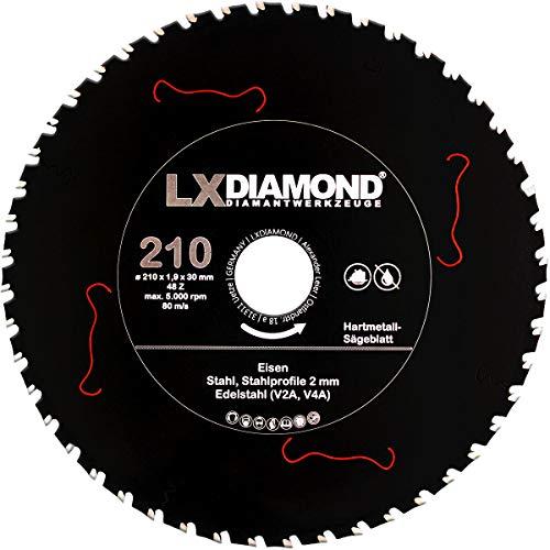 LXDIAMOND Hoja de sierra de metal duro, 210 x 30 mm, Z48, para hierro, acero inoxidable, V2A, V4A, perfiles de acero, apto para sierras de metal, sierra circular de mano, sierra de mesa, 210 mm