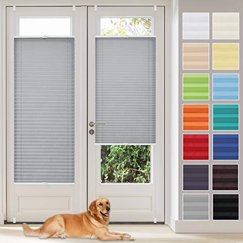 Vkele Plissee Klemmfix Faltrollo ohne Bohren (Blau, B35cm x H130cm) Sichtschutz und Sonnenschutz, Plissee Rollo Jalousie für Fenster und Tür