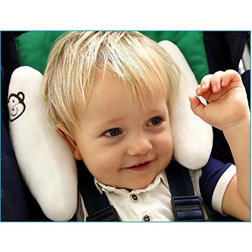 Almohada de seguridad para asiento de coche ajustable para bebé, cuello suave – Cojín de seguridad para niños en forma de U, soporte para la cabeza del cochecito para bebés y bebés, color blanco