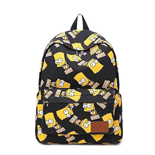LLYDIANJunior Rucksack für Kinder 3D Familie Bart Simpsons Gesicht Muster Rucksack Segeltuch-Schule-Laptop-Tasche Reisen