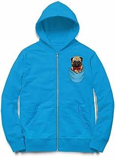 Fox Republic 眼鏡 蝶ネクタイ ポケット パグの赤ちゃん 犬 オーシャンブルー キッズ パーカー シッパー スウェット トレーナー 130cm