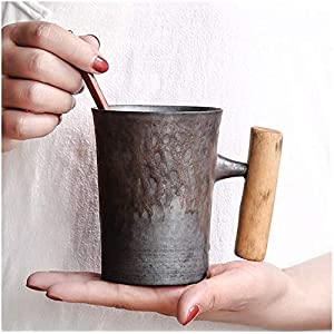 Stylist Japanese-style Vintage Rust Glazed Ceramic Coffee and Tea Mug with Wood Handle for Home Office Drinkware