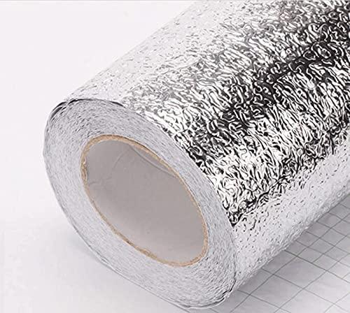 Papel de aluminio con textura de piel de naranja, pegatinas de cocina a prueba de aceite y salpicaduras, pegatinas impermeables para decoración del hogar de bricolaje, pegatinas de pare(Size:60cm×10m)