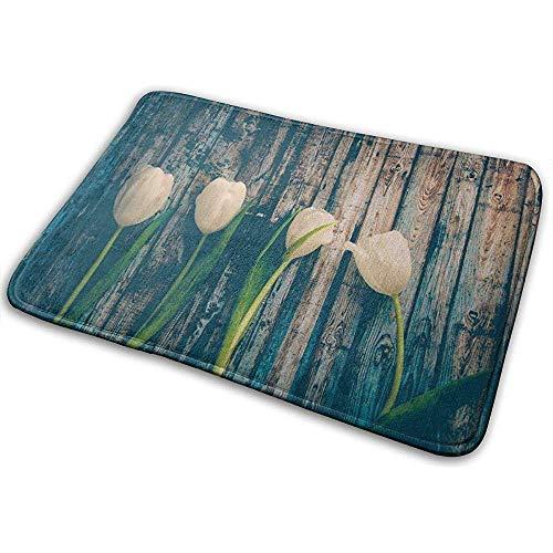 Tulipanes Blancos Flores Tallo Home Door Mat Super Absorbente Antideslizante Front Floor Mat, Soft Coral Memory Foam Alfombra Baño Goma Alfombras de Entrada