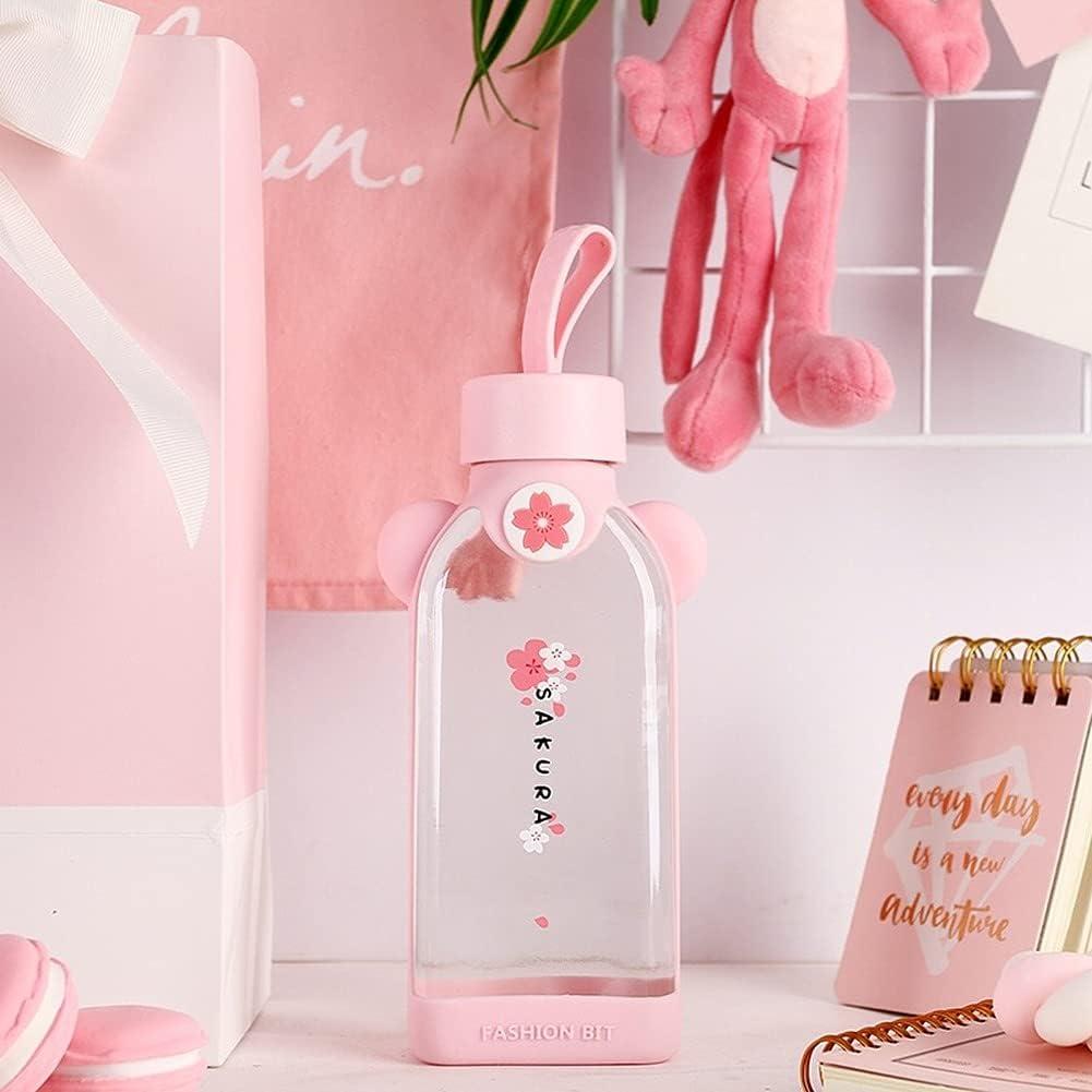 Tenbroman Botella de Agua de Vidrio Creativa Kawaii Sakura con Mango Patrón de Flor de Cerezo Transparente Corazón Lindo Fresco portátil para Deportes Viajes al Aire Libre (A-4 Flowers)