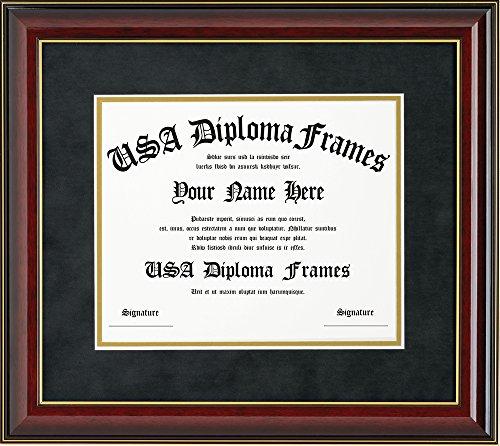 Glossy Cherry Mahogany with Gold Trim Diploma Frame (8.5 x 11)