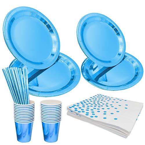 Set di stoviglie di carta, Blu Set di stoviglie usa e getta da 99 pezzi, Set di stoviglie per feste Piatti di carta usa e getta Tovaglioli Tazze usate per varie feste