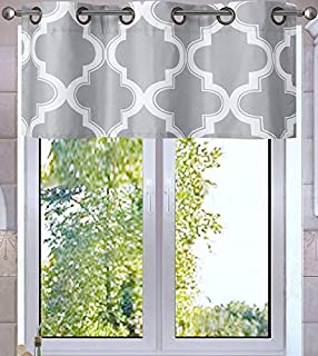 GorgeousHome MOZA Silver/White Faux Silk Lined Blackout Thermal Window Curtain Geometric Printed Modern Style Assorted Sizes (1PC Valance 37