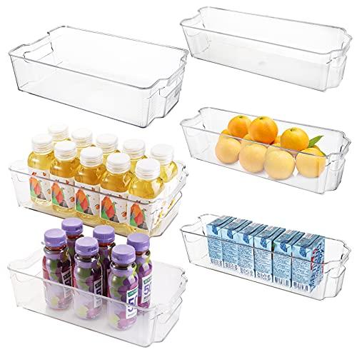 yarlung Paquete de 6 cubos organizadores para refrigerador, apilables, cajones de almacenamiento de alimentos para congelador, encimeras, armarios, despensa, cocina, 2 tamaños