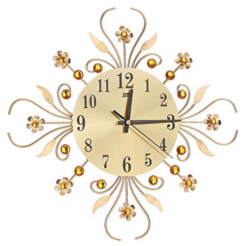 Xinjieda Rhinestone de la Flor del Reloj de Pared Floral del Metal Cristal Restaurante Bar Cafetería Inicio decoración del Reloj
