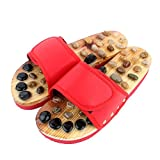Fitness Massage Slippers Acupuncture Points Foot Massager Slippers Arch Pain Massage Adult Shoes Pebbles and Agate Stone Acupressure Wooden Shoe for Men and Women