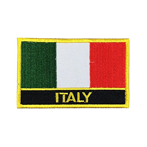 Italy Flag Patch / Travel Patches for Backpacks, Bags, and Clothes (Italian Iron-On w/ Words, 2 x 3)