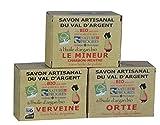 Savon Artisanal 3x140g (420g) 100% Natur Bio Seife Zertifiziert Verbene - Brennnessel - Minze+Kohle