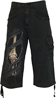Mens - Bone RIPS - Vintage Cargo Shorts 3/4 Long Black
