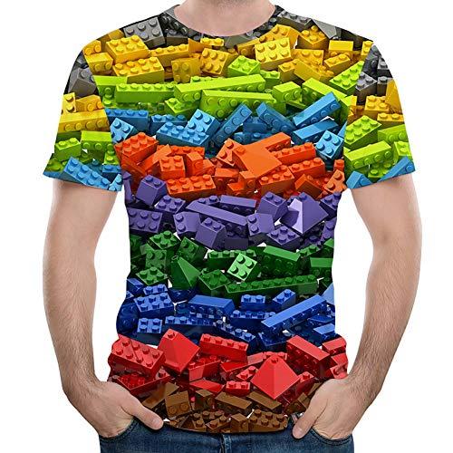 BGBG Chemise 3DT T-Shirt Taille EU/US pour Hommes - 3D / Rainbow Print Round Neck Rainbow
