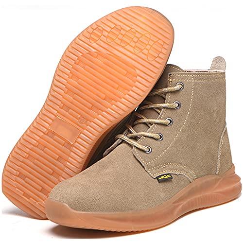 KUXUAN Calzado de Seguridad para Soldador Botas de Seguridad con Puntera de Acero para Hombre Zapatos de Trabajo Anti-perforación Anti-Rotura Torno de Soldadura Eléctrico, Beige-45EU