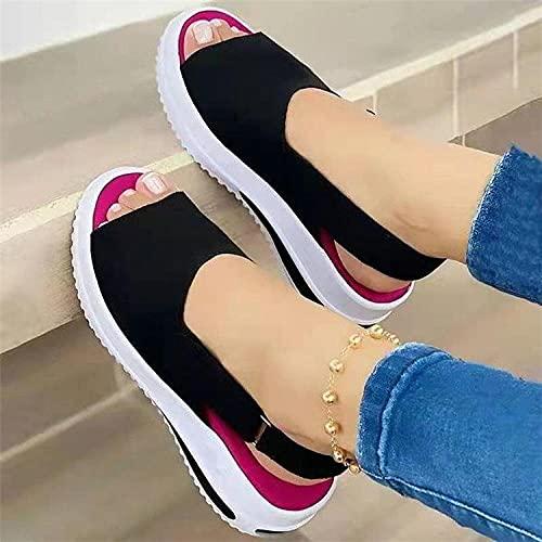 Pantofole Floreali estive,Pendio Solido di Modo con Sandali, Pantofole da Donna Aperta di Grandi Dimensioni-Nero_38,Scarpe estive durevoli