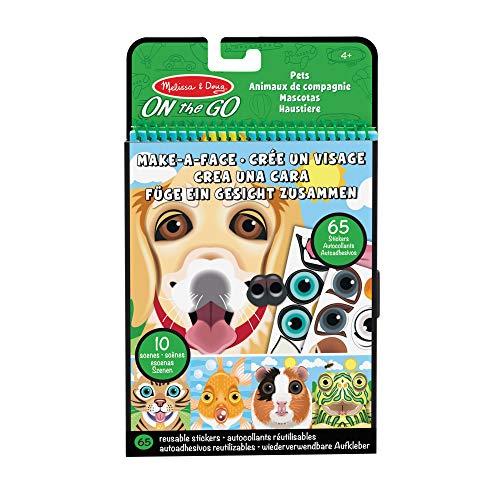 Melissa & Doug 40512 Erstelle ein Gesicht Wiederverwendbare Stickerblock für unterwegs Reise- und Spielaktivitätenbuch – Haustiere (10 Bilder, 65 Klebesticker)
