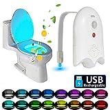 16 Farben LED Toilettenlicht Bewegungserkennung Badezimmer Nachtlichter Empfindliche Dämmerung bis zum Morgengrauen USB Wiederaufladbare Lampe