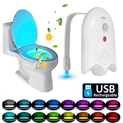 Caxmtu - Luce LED per WC con rilevazione di movimento, 16 colori, luce notturna da tramonto all'alba, ricaricabile tramite USB, con aromaterapia