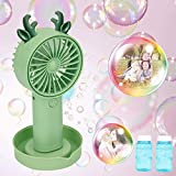 eeglog Bubble Machine , Handheld Fan Kids Bubble Machine 2 in 1 with USB Charge Fan Animal Shape Bubble Fan, Bubble Blower Toy for 4.5.6.Years Kids Boys & Girls & Toddlers, Outdoors & Party (Green)