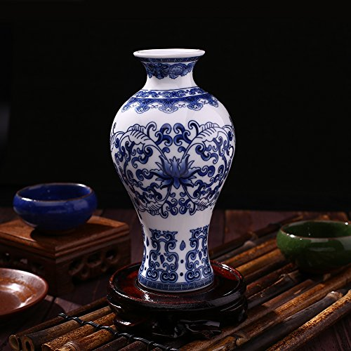 Kicode Untique Stunning Traditional Chinese Blue and White Porcelain Auspicious Ceramic Elegant Ornament E Pattern